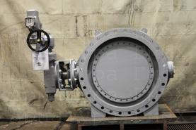 3х эксцентриковый дисковый затвор типа V3-06-3E Ду1000 Ру16 фланцевый с приводом AUMA на сильно загрязненные технологические газы +350С