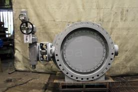 3х эксцентриковый дисковый затвор типа V3-06-3E Ду1200 Ру16 фланцевый с приводом AUMA на технологические загрязненные газы +350С