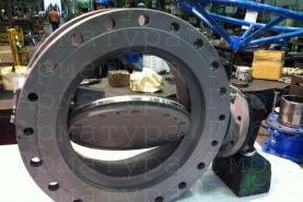 3х эксцентриковый дисковый затвор типа V3-06-3E Ду500 Ру16 фланцевый на испытаниях